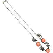Antique Art Deco 1920s Sterling Silver necklace with Orange Peking Glass