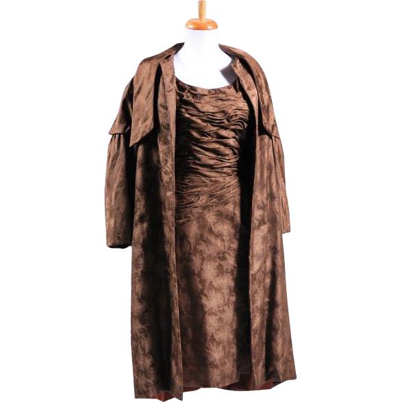 Vintage 1950s Custom made Brown Silk Brocade Dress and Matching Coat Ensemble
