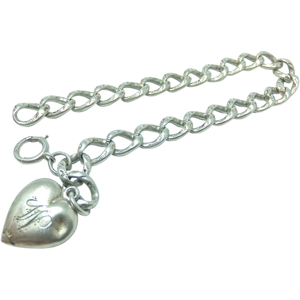 Antique Sterling Silver Puffy Heart Repousse chain Bracelet