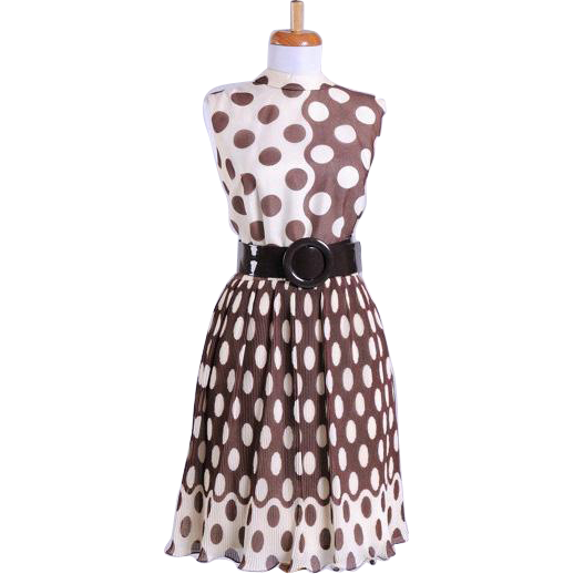 Vintage 1960s Silk Mod Accordion Pleated Brown and Cream Day Dress