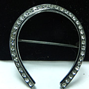 Vintage 1940s Sterling Silver Horseshoe Brooch with Rhinestones