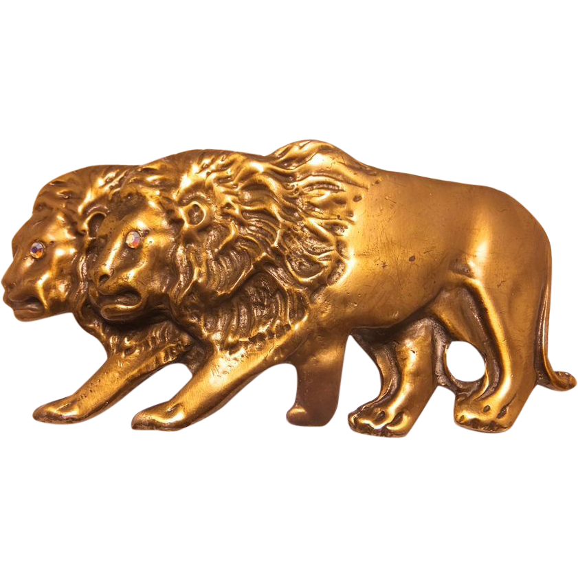 Huge 1980s Laloon Designer walking Lions Belt buckle