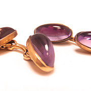 Antique Edwardian Amethyst cabochon 14k yellow gold cufflinks
