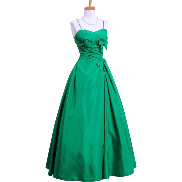Vintage 1960s Mollie Stone Emerald Green Silk Taffeta Evening Gown with petticoat