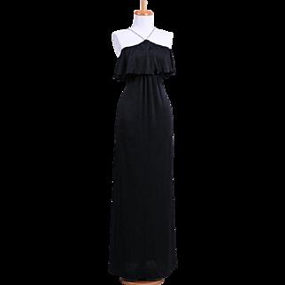 Vintage Roberta of California 1970s Black Rhinestone Encrusted Halter Evening Gown