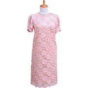 Vintage 1960s Bubblegum Pink Sheer Floral Ribbon Adorned Sheath Dress with Capped Sleeves