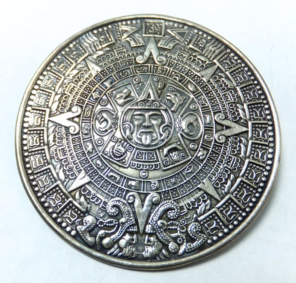 Signed mb aztec calendar pendant from malenasboutique on ruby lane