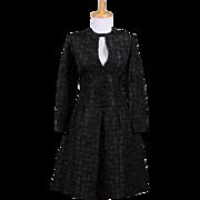 Vintage 1960s Francine Black Silk Jacquard Long sleeved Cocktail Dress with Jeweled Keyhole neckline