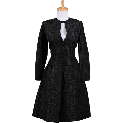 Vintage 1960s Francine Black Silk Jacquard Long sleeved Cocktail Dress with Jeweled Keyhole neckline
