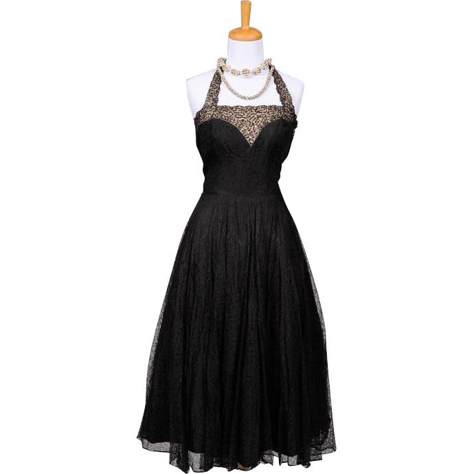 Vintage 1950s Black Lace and Jet Black Sequin Tea Length Halter Dress