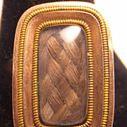 Victorian 9K Gold Unique mourning pin with woven hair and loop