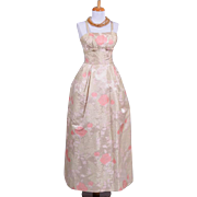 Vintage 1960s Karen Stark for Harvey Barin Champagne Silk Satin floral Brocade Evening Gown