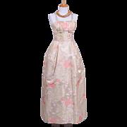 Vintage 1960s Karen Stark for Harvey Barin Champagne Silk Satin floral Brocade Evening Gown