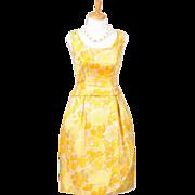 Vintage 1960s Sunny Yellow Floral Sleeveless Silk Faille Dress