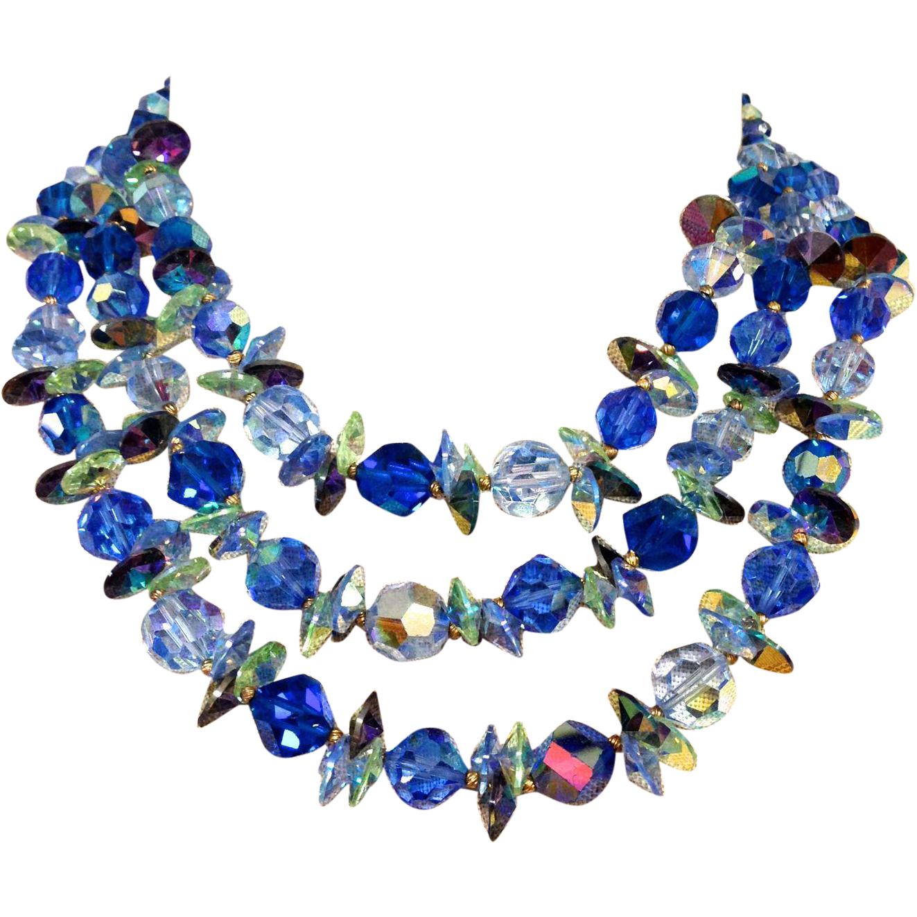 Vintage Three strand Blue Crystal Vendome Necklace