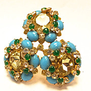 Vintage KJL Kenneth J. Lane large brooch with turquoise stones