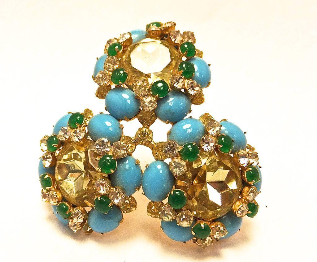 Vintage KJL Kenneth J. Lane large brooch with turquoise stones