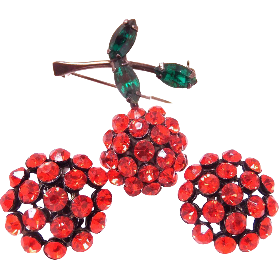 Vintage Weiss Rhinestone Red Cherry Brooch Pin & Matching Earrings Set with Japanned Metal
