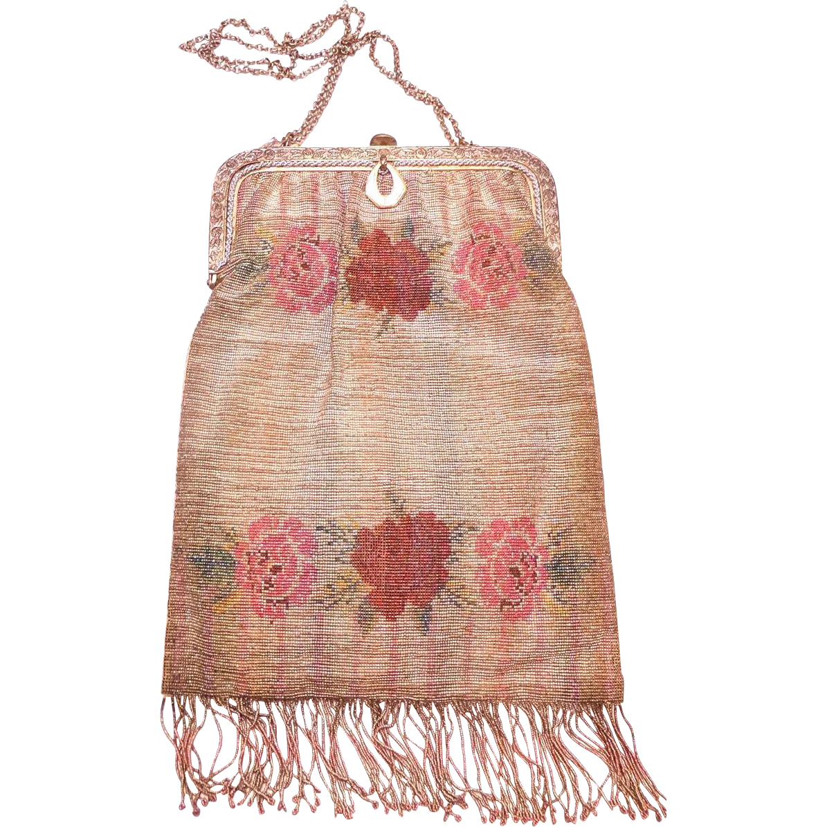 1920s Art Deco Stunning Steel Cut Micro Bead Metallic and Pink Evening Purse with Beaded Roses