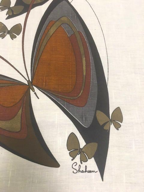 Gorgeous Vintage Hand Printed Butterfly Linen Fabric Piece by Alfred Shaheen