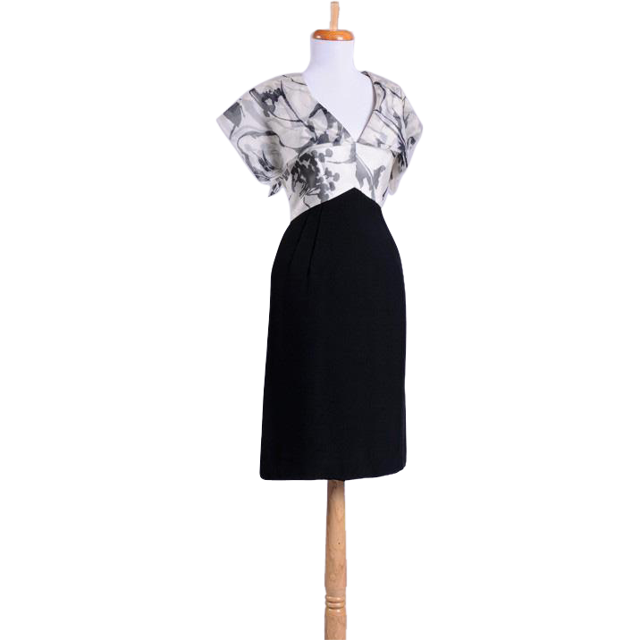 Vintage 1950s Black and White Origami Cocktail Dress