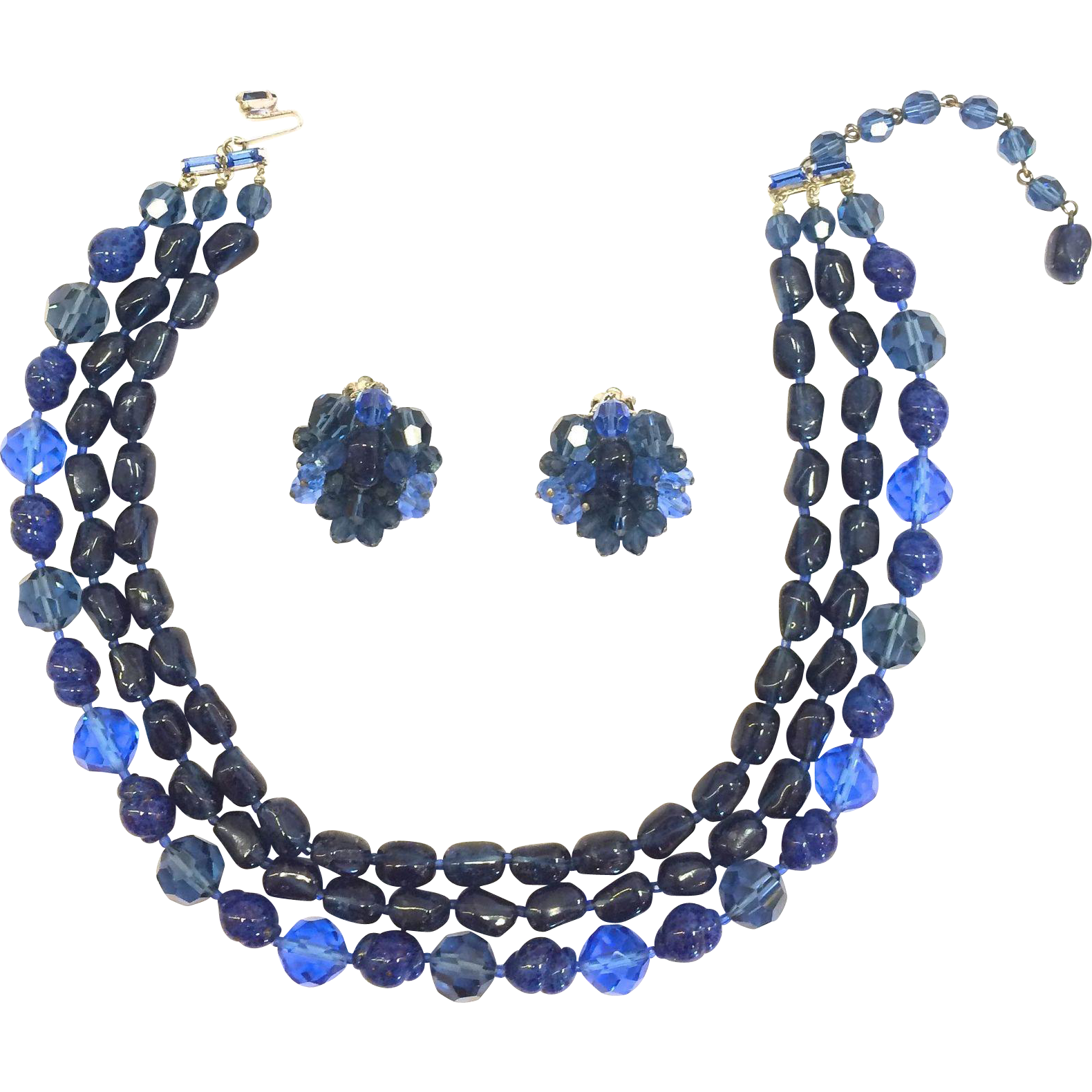 Vintage Eugene Cobalt blue glass, crystal, and faux lapis necklace set