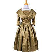 Vintage 1950s Gold Lame and green hued Cocktail Dress with sleeves and portrait style shawl collar
