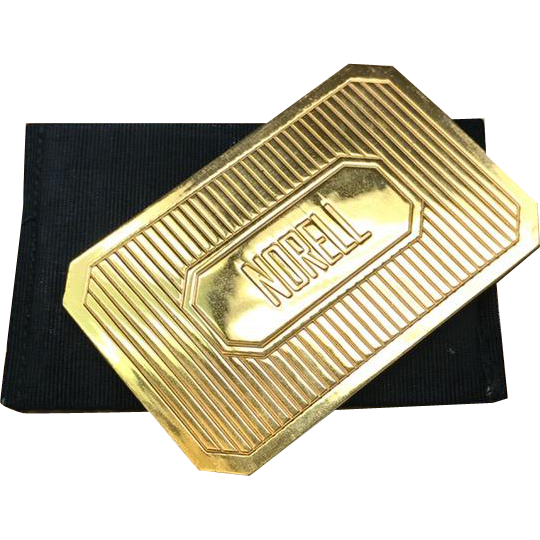 Vintage 1950s designer Norman Norell gold tone compact mirror and case