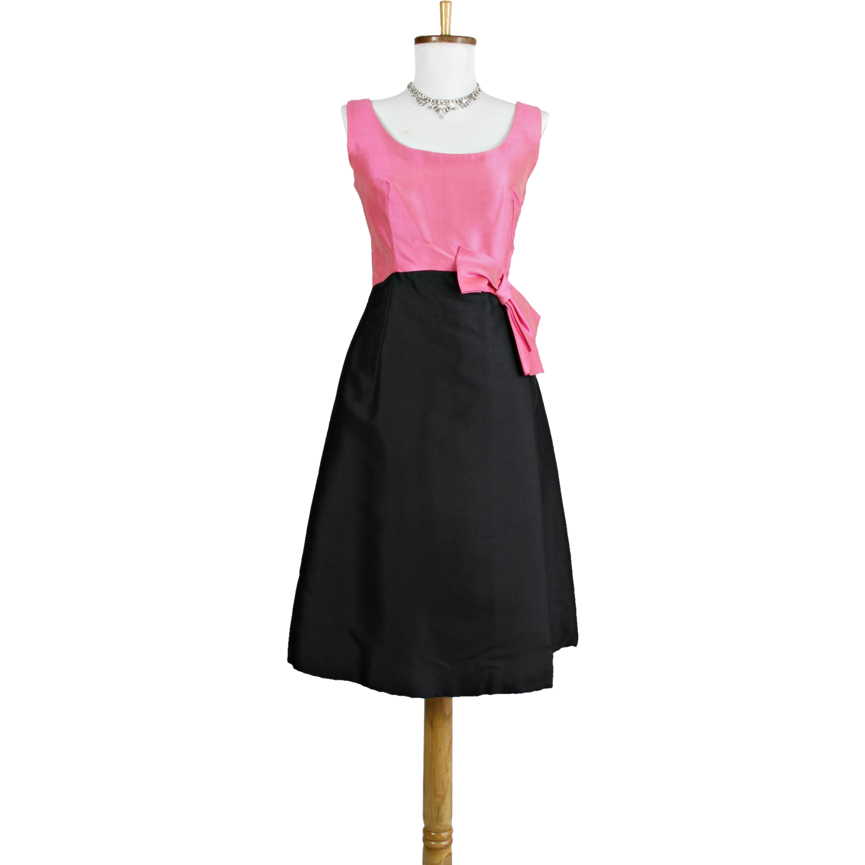 Vintage 1960s Pink and Black Silk Cocktail Dress with bow at the waistline