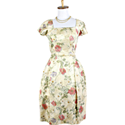 Vintage 1960s Gold Watercolor Flower Brocade Dress