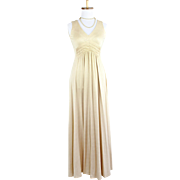 Vintage 1960s Bernie Bee of New York Camel Knit Maxi Dress