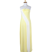 Vintage 1970s Pale Yellow and White Halter Maxi Dress with Keyhole