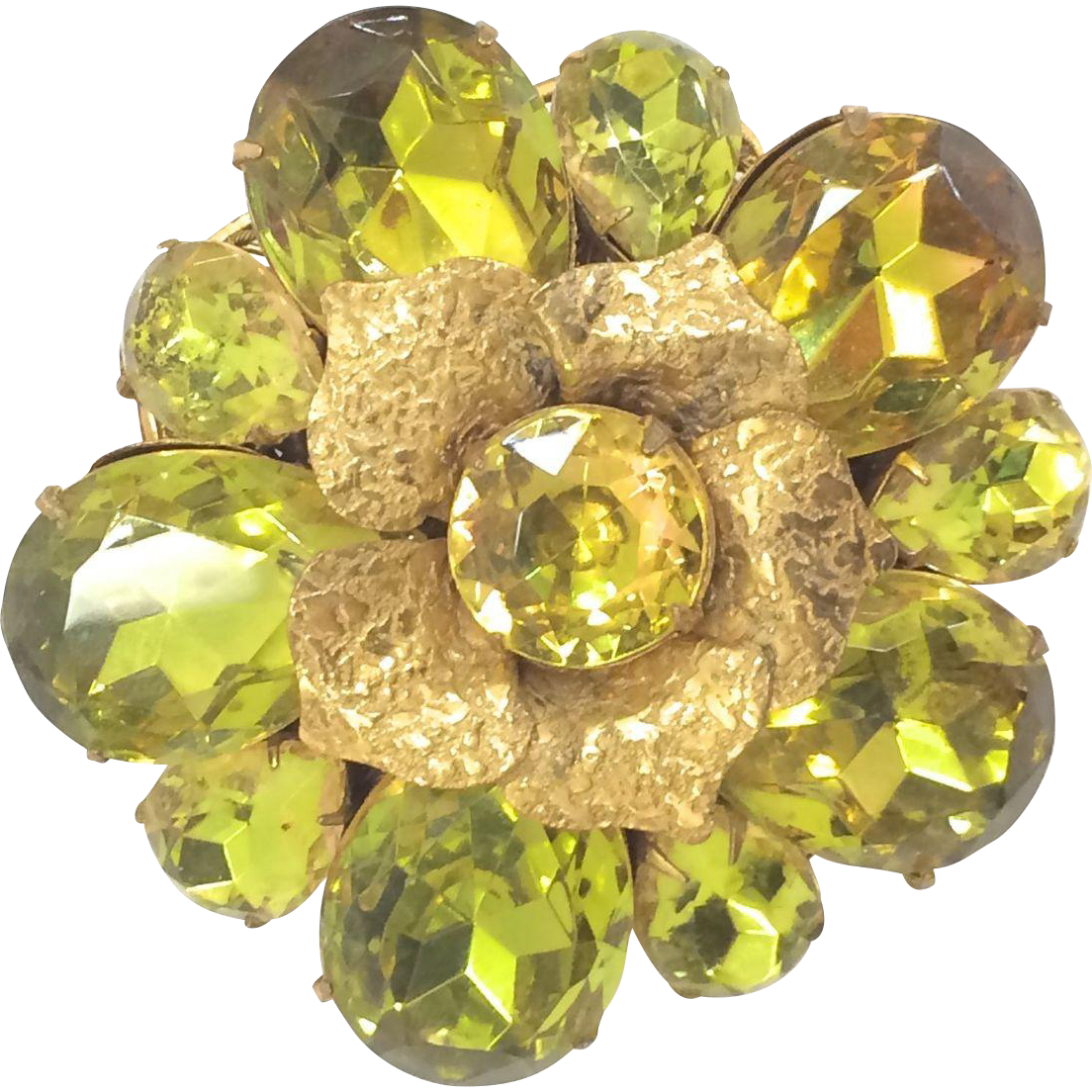 Unusual Vintage Early Miriam Haskell Green Colored Rhinestone Flower Brooch Pin