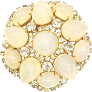 Vintage KJL Kenneth J Lane Clear Rhinestone and Opalescent Glass Brooch Pin for a Bride Weddings