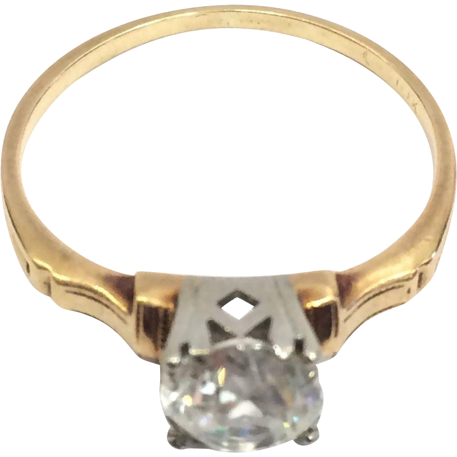 Vintage 1940s White and Yellow Gold Solitare Engagement Ring with CZ Stone