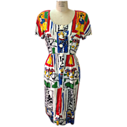 Vintage 1980s Couture Guy LaRoche illustration printed dress