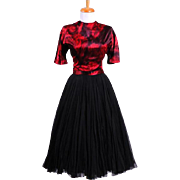 Vintage 1970s Black and Red Silk Jeweled Neckline Party Dress with Short sleeves and a full silk chiffon skirt
