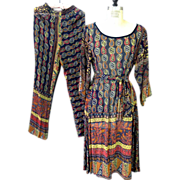 Vintage Giorgio D Santangelo ethnic print tunic and wide leg pants