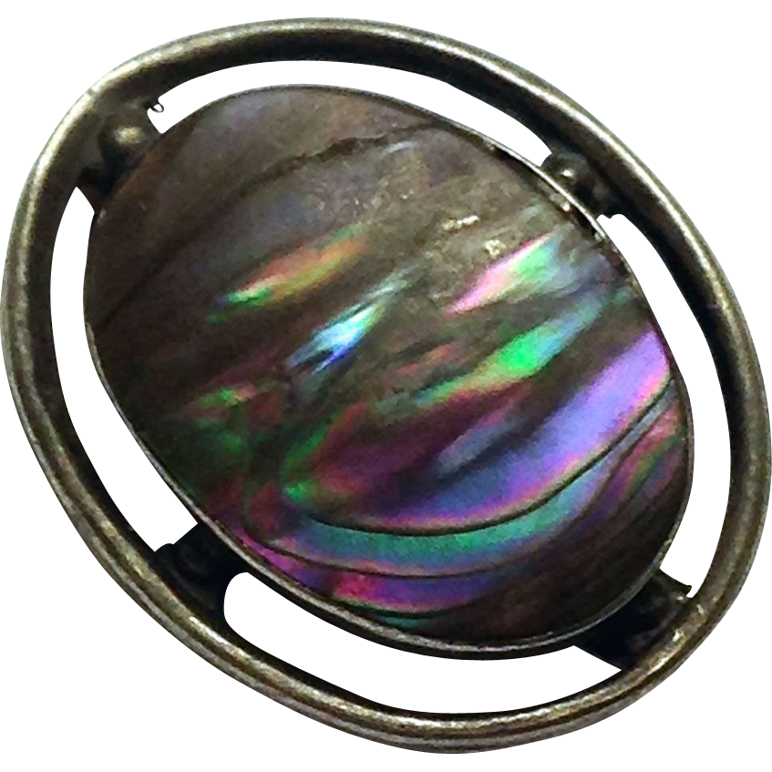 Antique Sterling Silver Arts and Crafts Abalone Brooch