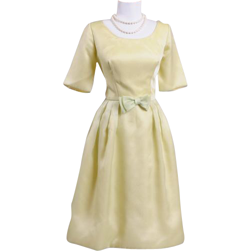 Vintage 1950s Pale Moss Green Party Dress
