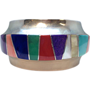 Vintage Signed Franklin Carillo Laguna Sterling Silver and Inlaid Multi-Gemstone Cuff