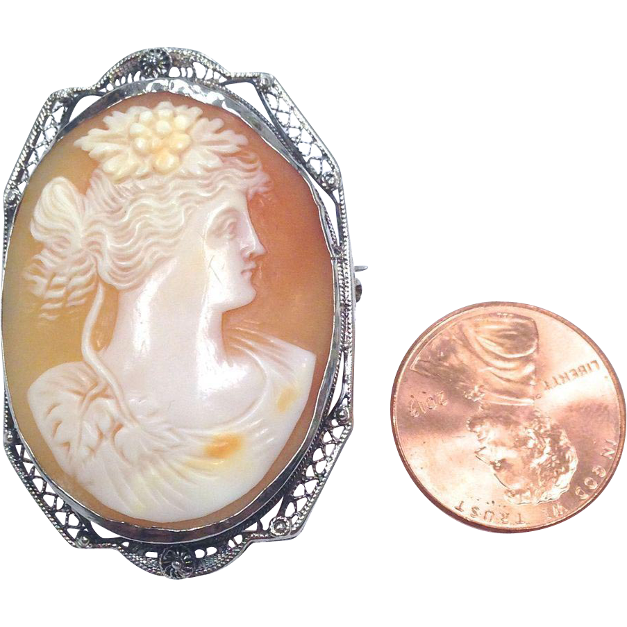 Vintage 14K White Gold Filigree Cameo Pin and Pendant