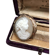 Antique 9ct Yellow Gold Tan and Ivory Carved Shell Cameo pin or pendant