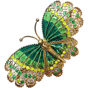 Vintage Filagree Green Enamel Butterfly Brooch