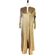 ?? 1970s Vintage Gold Metallic Halston IV Dress or Caftan