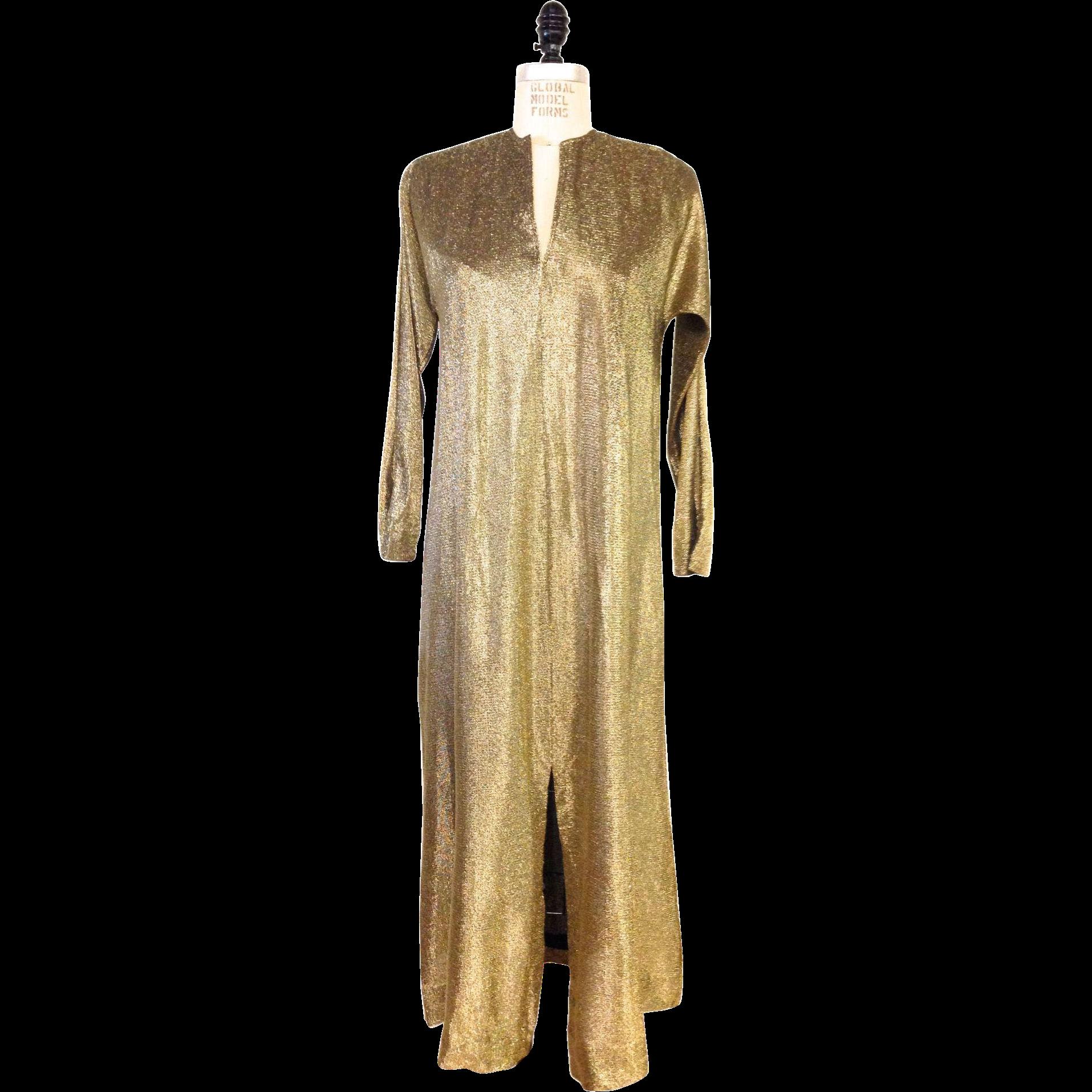 ?? 1970s Vintage Gold Metallic Halston IV Dress or Caftan