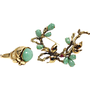 Vintage signed 14K yellow gold jade and ruby brooch with matching cocktail ring