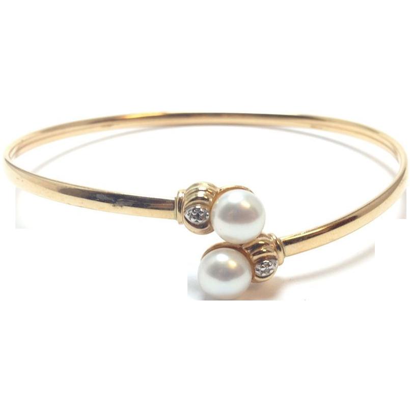 vintage 10k solid gold bangle bracelet with and