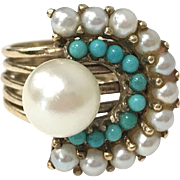 Vintage 1940s Abstract Pearl and Persian Turquoise 14 karat Yellow Gold Cocktail Ring