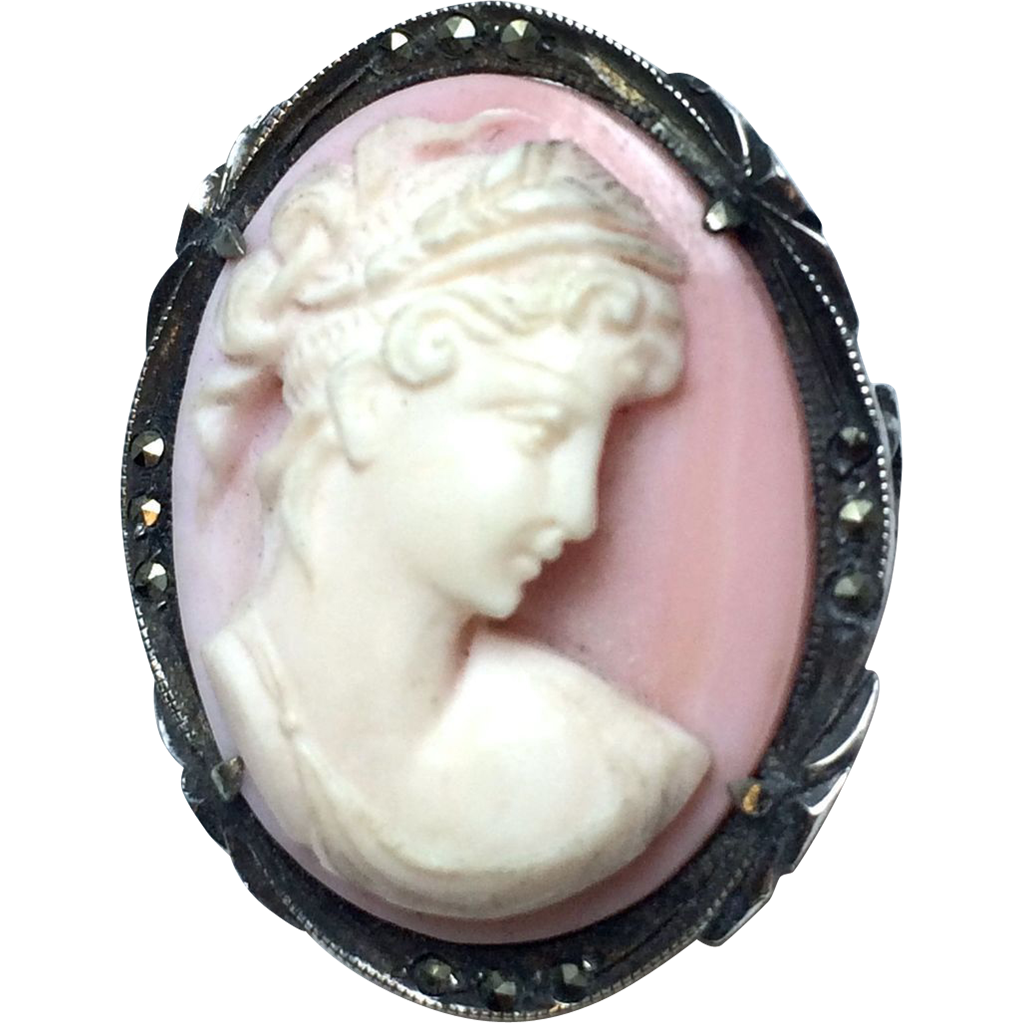 Vintage Hand Carved Pink Shell Cameo in Silver Setting with Marcasite